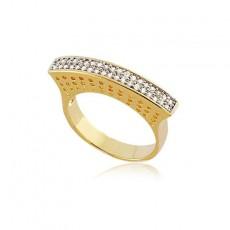 Anel Folheado a Ouro Filete de Zircônias 30053 Tamanho 15