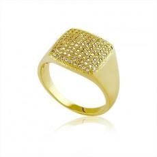 Anel Folheado a Ouro Quadrado de Zircônias 30090 Tamanho 16