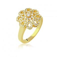 Anel Folheado a Ouro Flor de Zircônias 30147 Tamanho 19